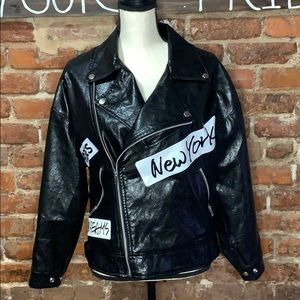 Forever 21 Faux Leather Graphic Moto Jacket USS